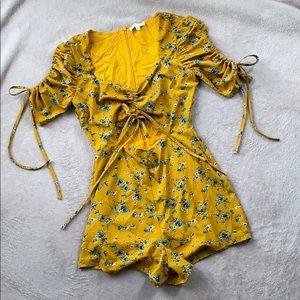 Floral Mustard Yellow Romper